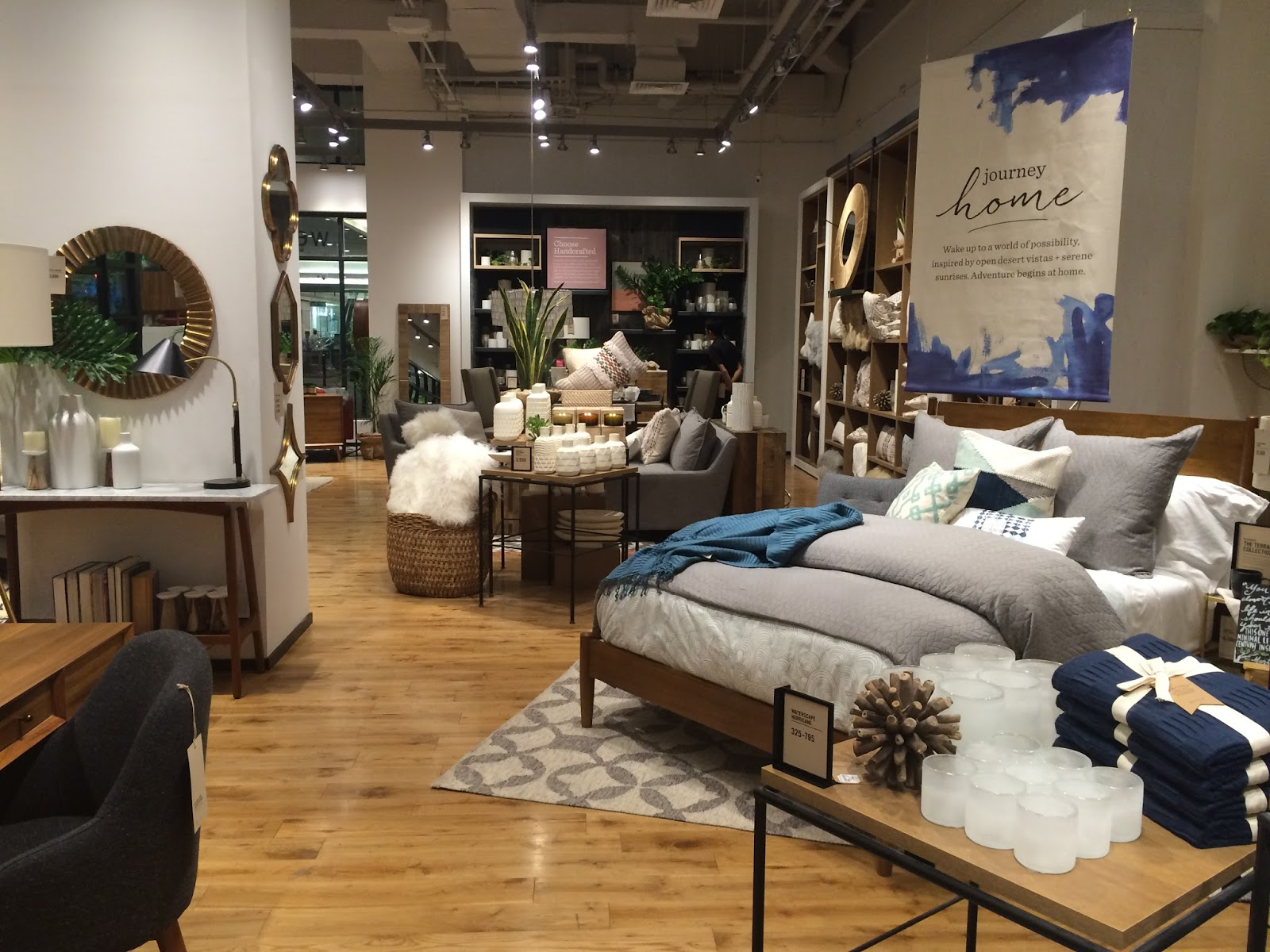 The 7 000 sq ft store opens with west elm s summer collection which includes furniture bedding bathroom accessories rugs window textiles hardware