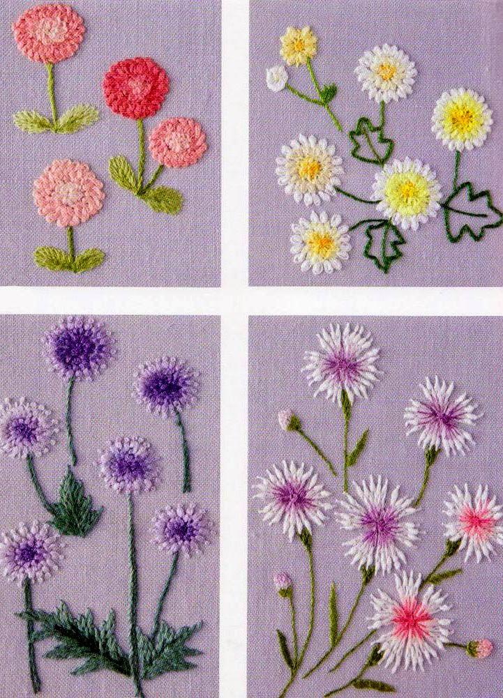 Вышивка шерстью цветов