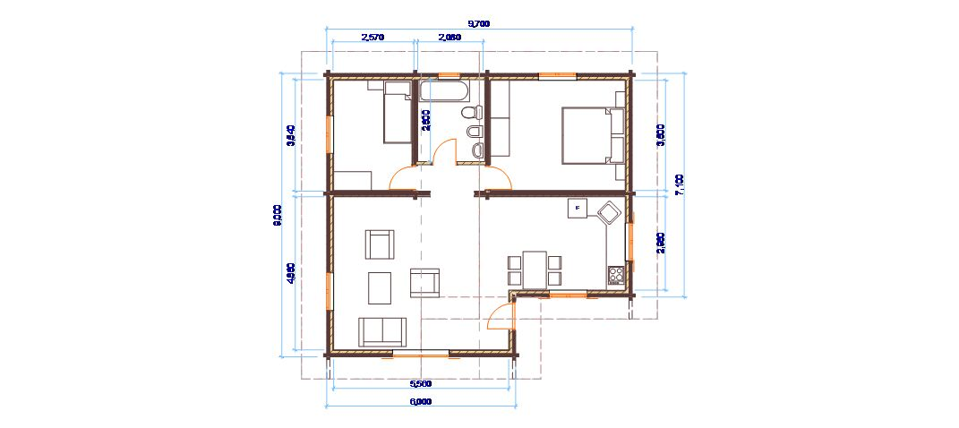 Molto Progetti di case in legno: CASA 80 MQ GU38
