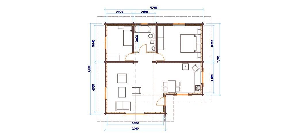 Progetti di case in legno casa 80 mq for Progetti contemporanei di case a pianta aperta