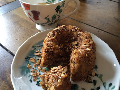 tea with banana granola bread bundt cake