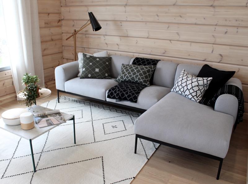 sohva ja koristetyynyt