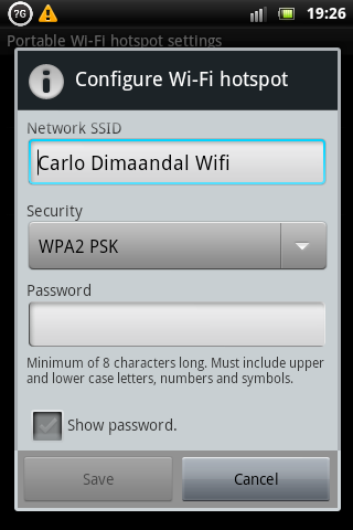 Xperia Mini Pro Wireless Hotspot Security Settings