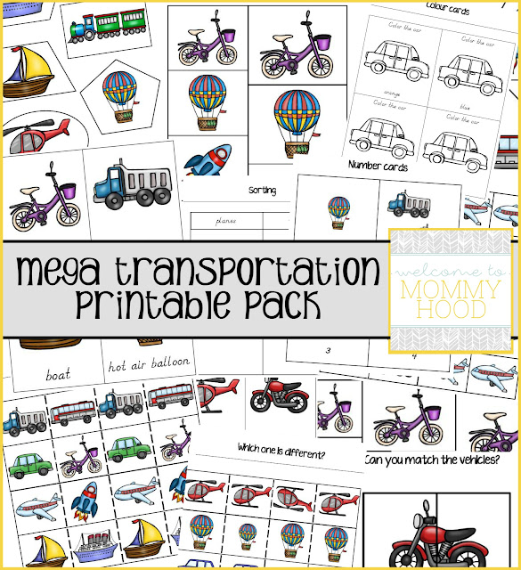 Mega transportation printable pack by Welcome to Mommyhood includes over 40+ pages of activities! You can use these to work on math concepts, letter recognition, language building, and more! #printables, #montessori