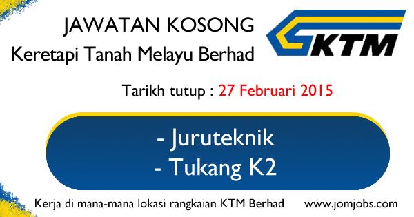 Jawatan Kosong Keretapi Tanah Melayu Berhad (KTMB) - 27 Februari 2015