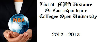 List of  MBA Distance Or Correspondence Colleges Open University