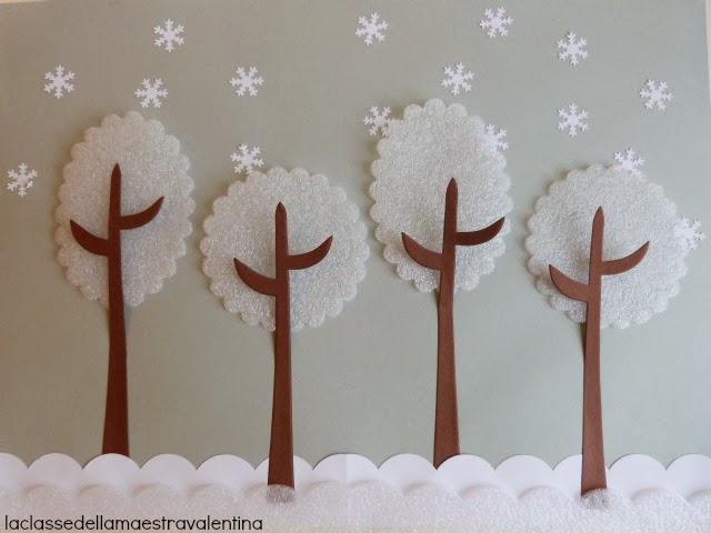 La classe della maestra valentina collages invernali for Addobbi natalizi per la classe