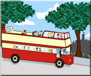 A cartoon of an Edinburgh Bus
