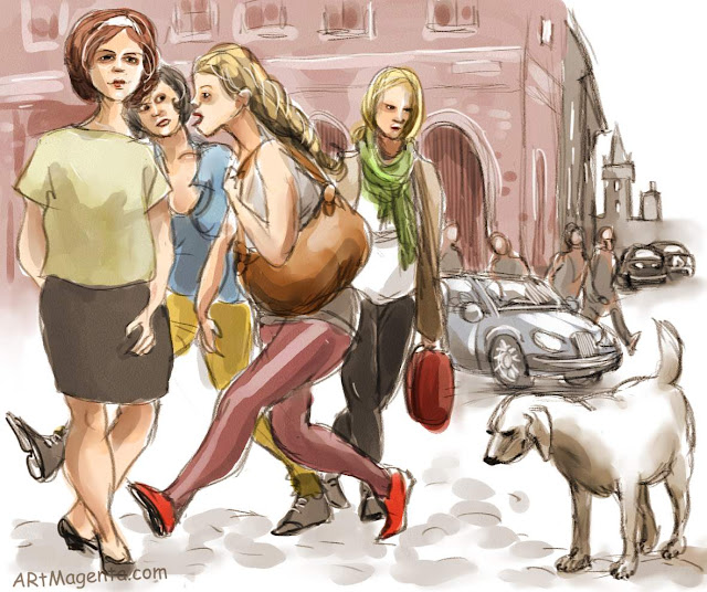 On the street, a drawing by Artmagenta