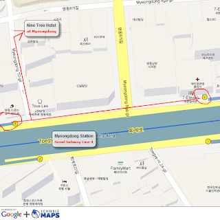 Myeongdong Station to Nine Tree Hotel