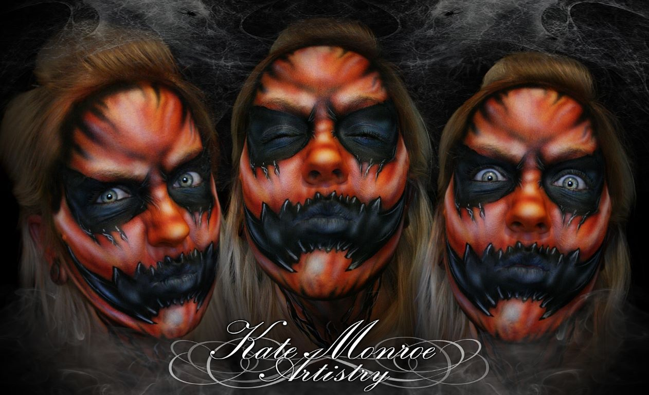 07-Demon-Pumpkin-Halloween-Kate-Monroe-Face-and-Body-Painting-on-Human-Canvases-www-designstack-co