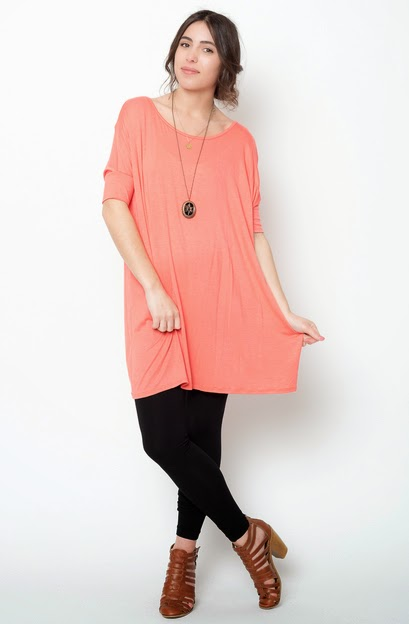Buy online short sleeve  coral ballet sleeve tunic for women