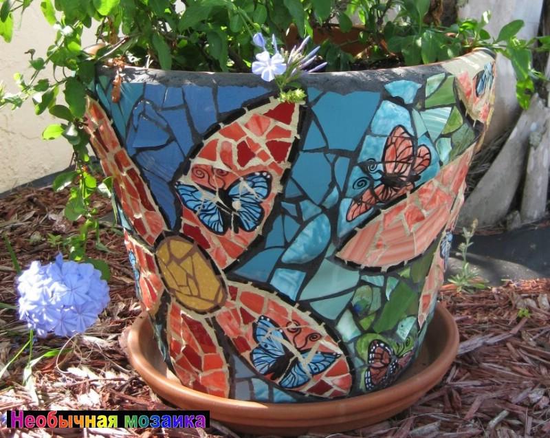 Кашпо с мозаикой своими руками 2