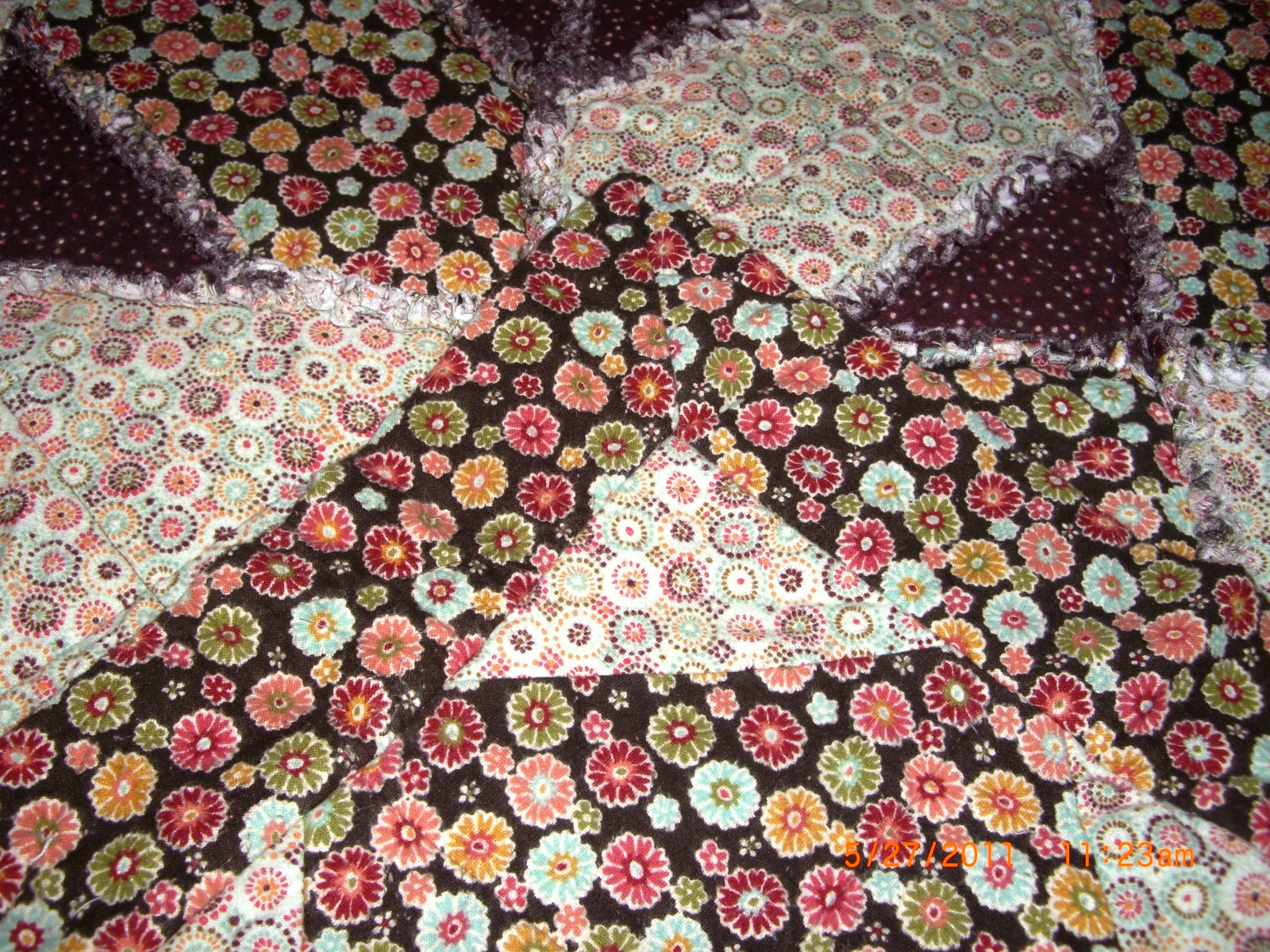 My.quilted.life: Handmade, Queen Size, Reversible, Rag Quilt in rich, warm, brown tones ...
