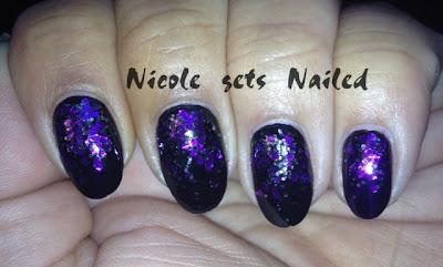 Purple Glitter Gradient on Black Nail Art