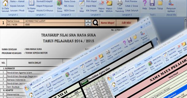 Aplikasi Transkrip Nilai Siswa Sma Smk Dengan Microsoft Excel Download File Pendidikan