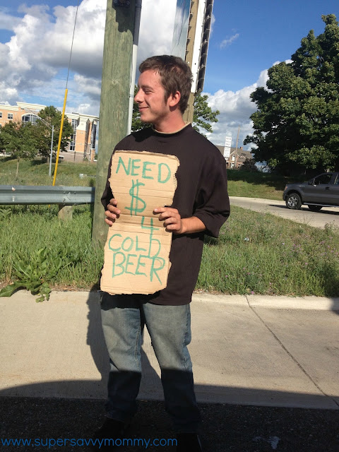 homeless beer, money to homeless, picture homeless sign, Michigan homeless