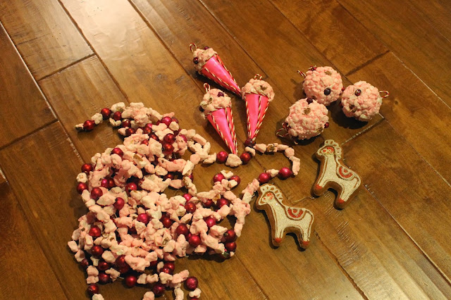 pink popcorn ornaments from the 70's