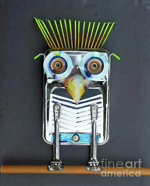 "Junk Assemblage Owl Art ""Painter Owl"" by Bill Thompson"