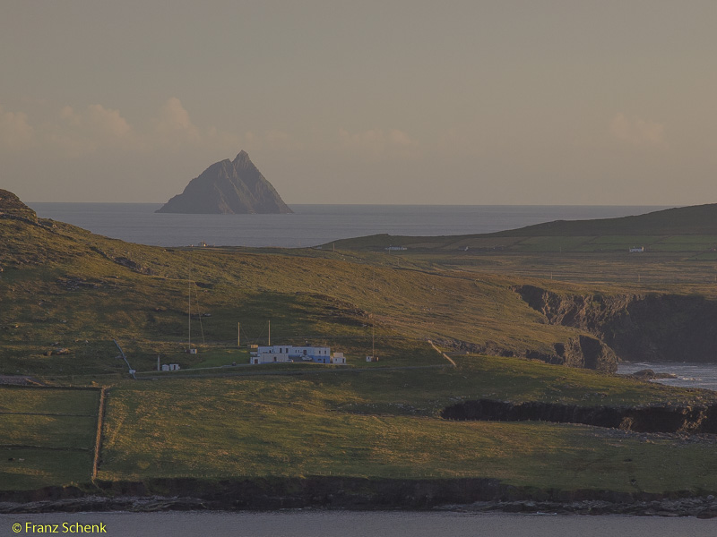 Valentia Radio Station with Skellig St Michael