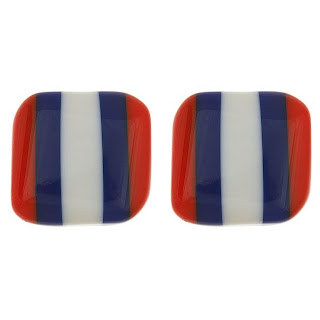 Orange, Navy & White Three Stripe Earrings
