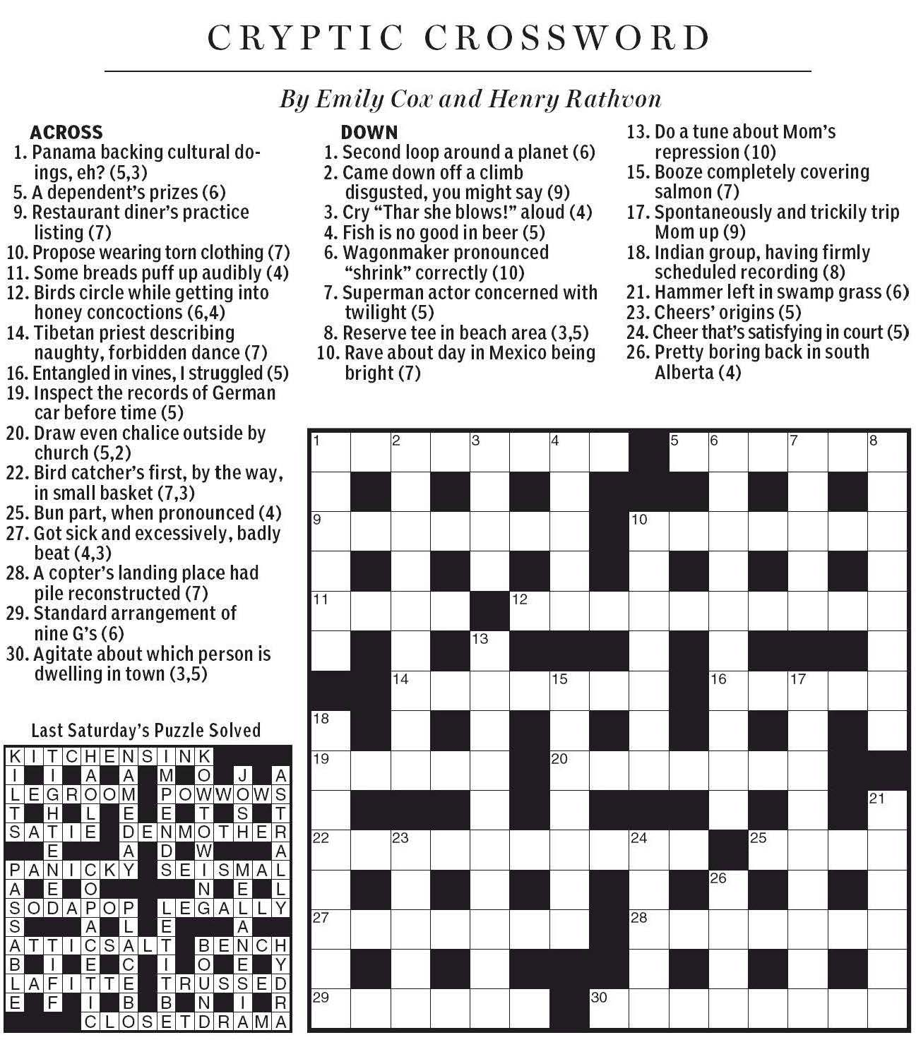 National post cryptic crossword forum saturday september 1 2012