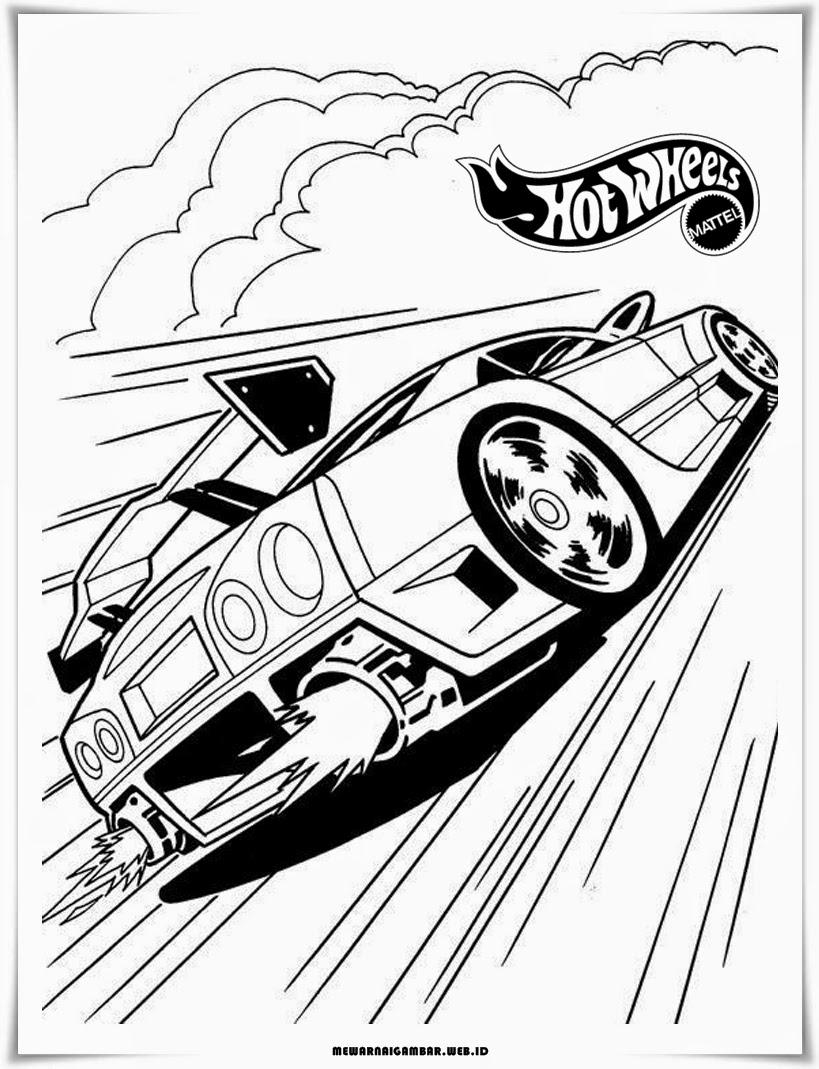 mewarnai gambar mobil hot wheels