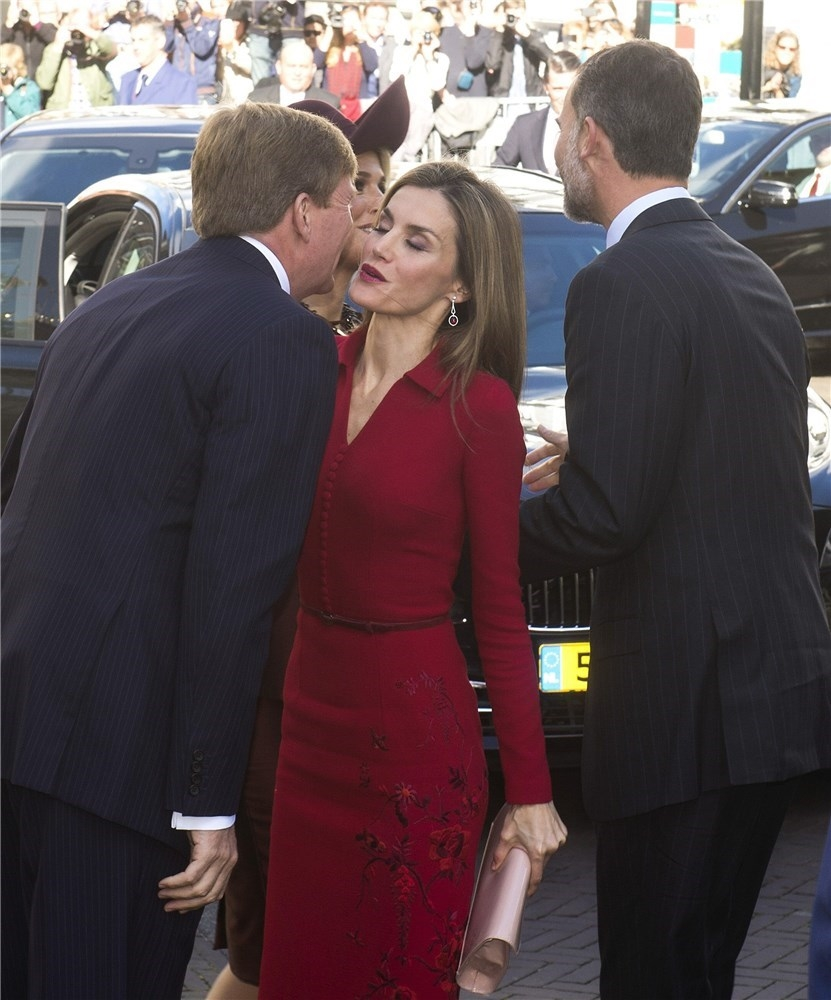 King Willem-Alexander of the Netherlands and Queen Letizia of Spain at The Noordeinde Palace
