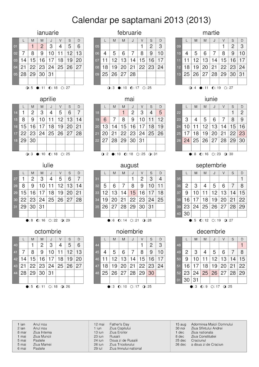 Calendar 2016 Nr De Saptamani | Calendar Template 2016