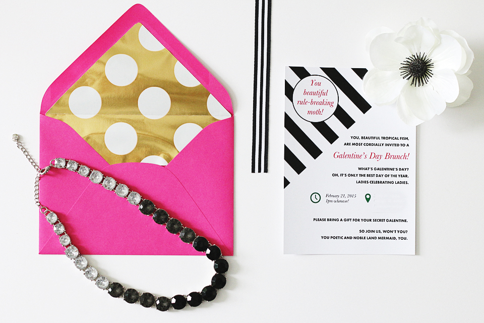 Parks and Recreation Inspired Galentine's Day Brunch Invitation- Black, White, Gold, Pink Modern