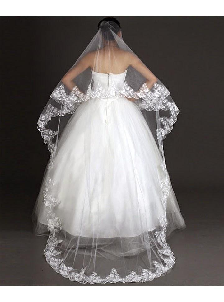 Velo para Vestido de Novia Estilo Catedral, Doble Capa con Encaje
