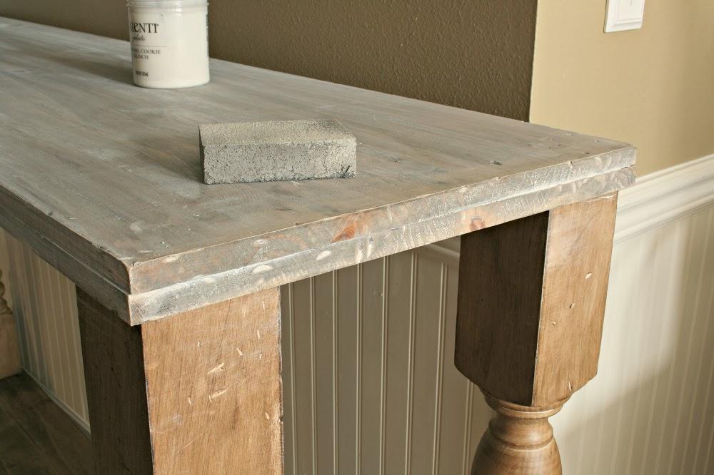 diy kitchen island, narrow kitchen island, kitchen console, annie sloan stripped paint finish