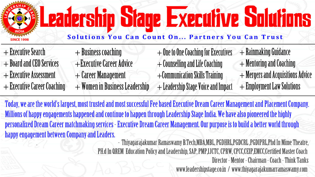 Thiyagarajakumar Ramaswamy's Leadership Stage India-ExecutiveDreamCareerManagement-PlacementServices