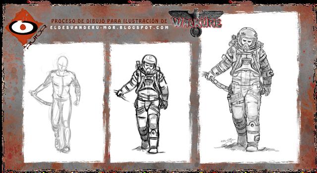 """Proceso de diseño de la ilustración """"Astronauta NSA)""""hecha por ªRU-MOR, para el juego de rol ucrónico WALKÜRE, sci-fi"""