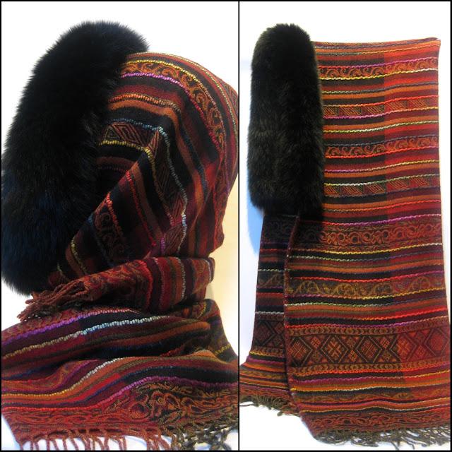 uldsjal med pelskant, pelshue, hue, pelshat, uldtørklæde, pelskrave, jane eberlein, samarkanddk