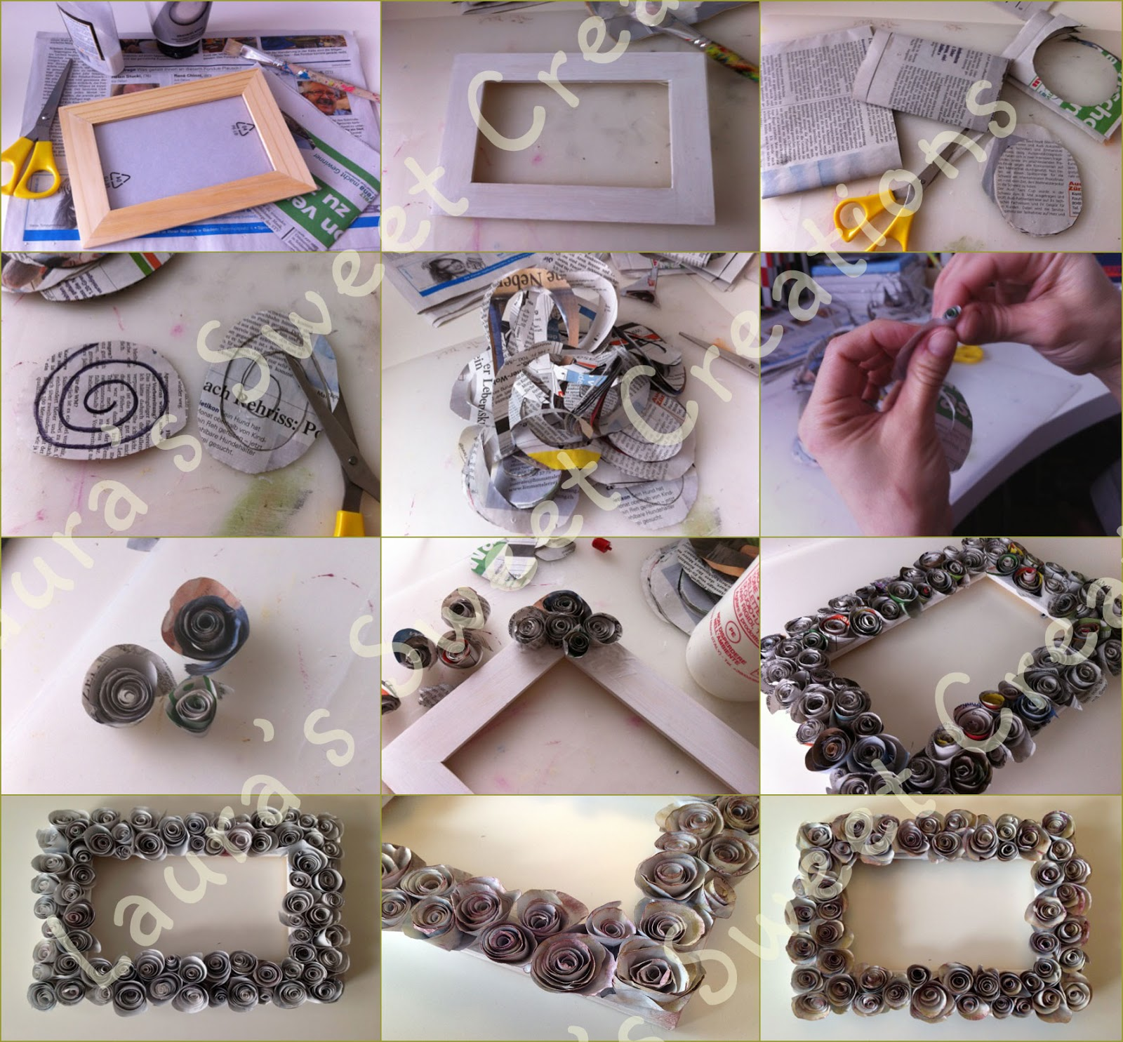 Laura 39 s sweet creations tutorial cornice con rose di carta for Fiori di carta di giornale