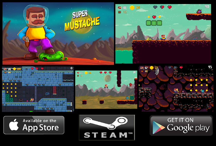 Super Mustache for android ios platformer game