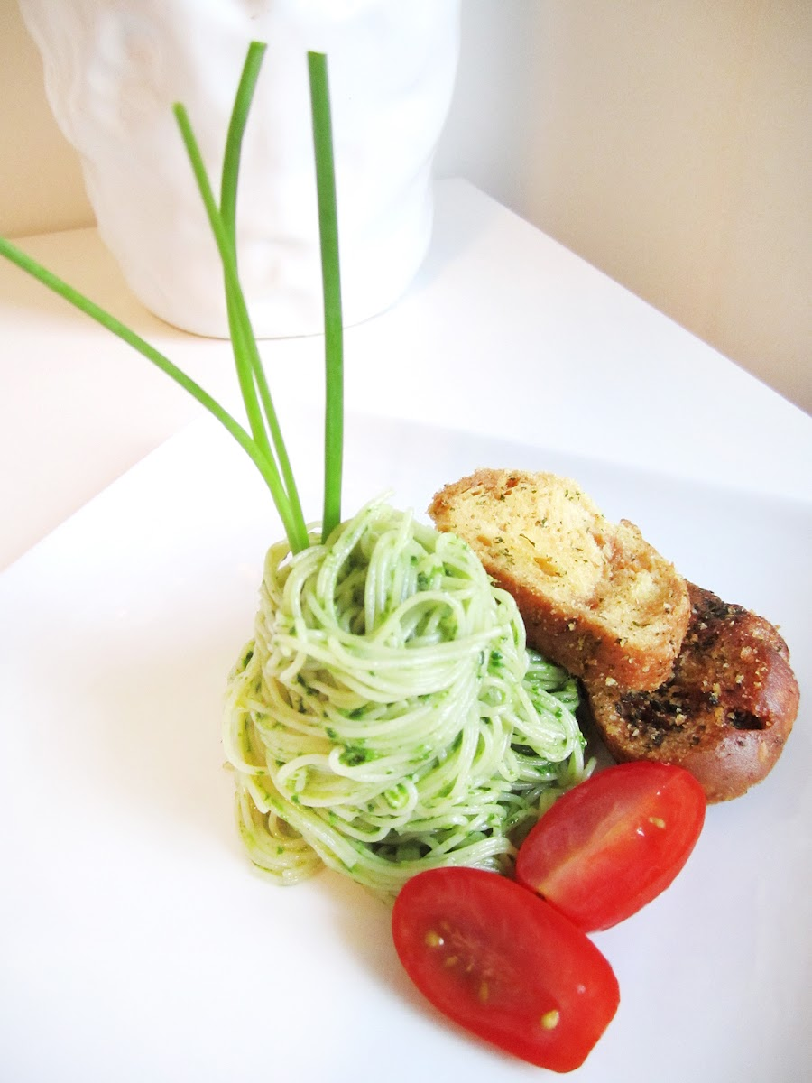 Angel Hair Pasta with Spinach Pesto