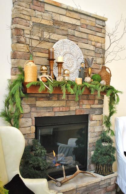 Rustic Stone Christmas Mantel
