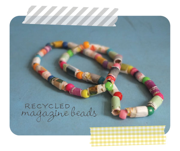 recycled magazine beads