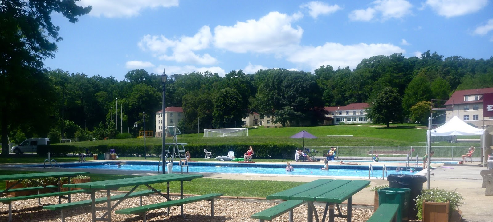 small outdoor swimming pool on Eastern University campus