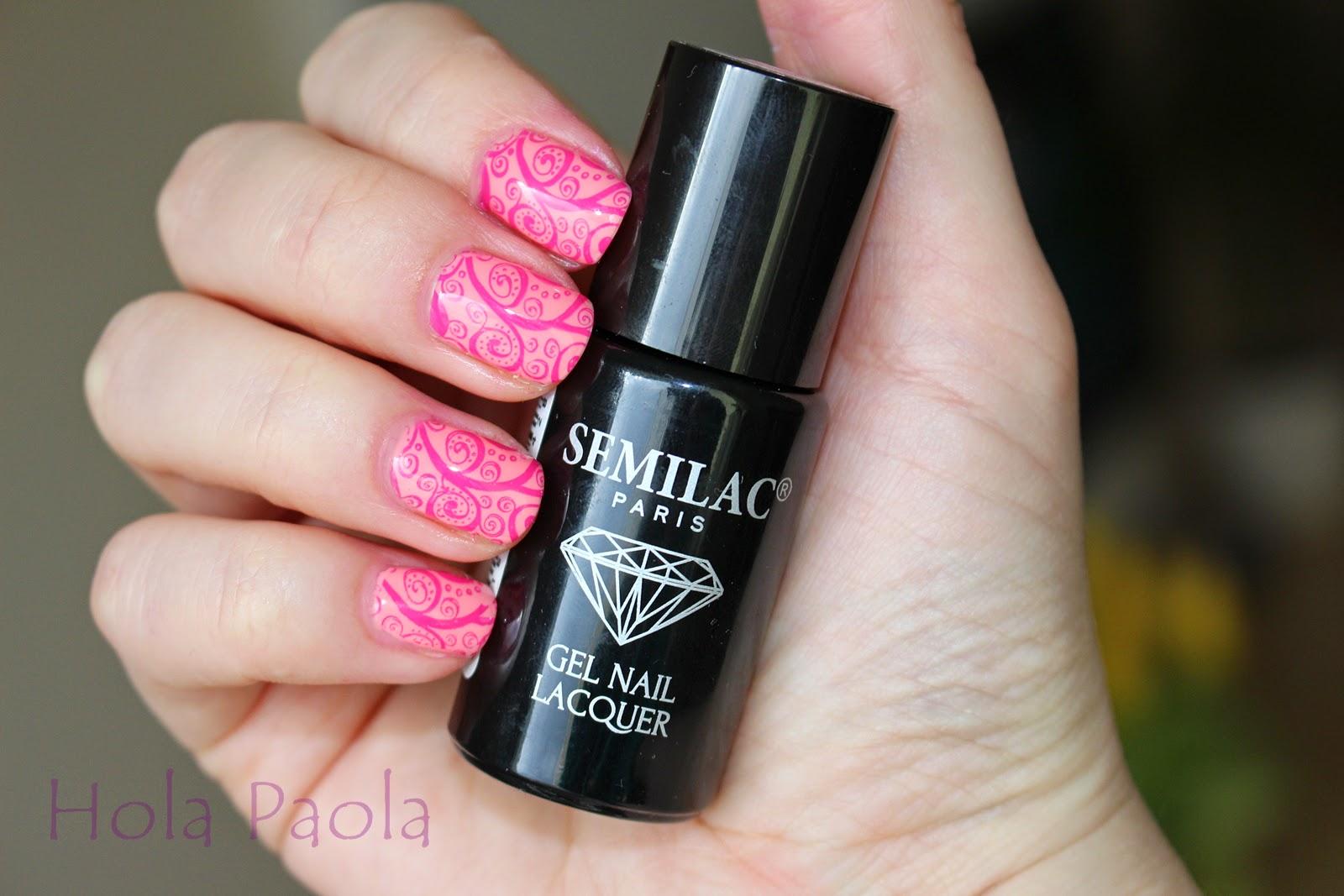 Lakier hybrydowy Semilac 102 Pastel Peach - 7 ml Nail Art Stamp Template Exquisite Arabesque Floral Pattern QA65 stemple zdobienie jak używać stempli na hybrydzie