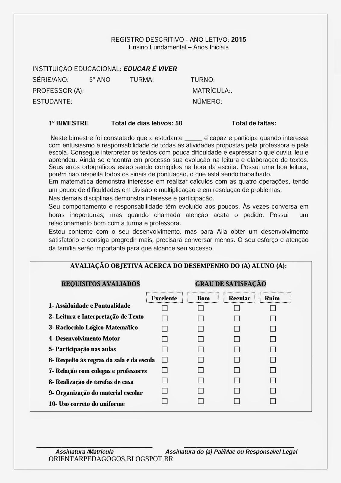 Populares CAR É VIVER: Relatório Descritivo 5º ano/ 4ª sérieEDU OF06