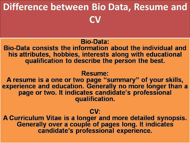 Difference between Bio Data, Resume and CV