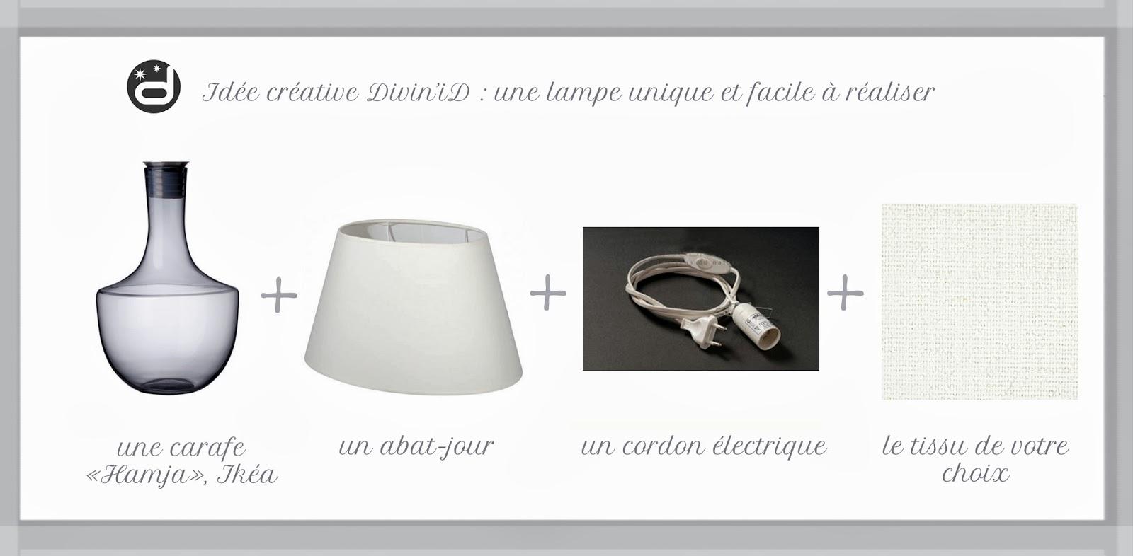 Divin iD le blog déco DIY Une lampe originale réalisée à partir d une carafe à vin Ikéa DIY