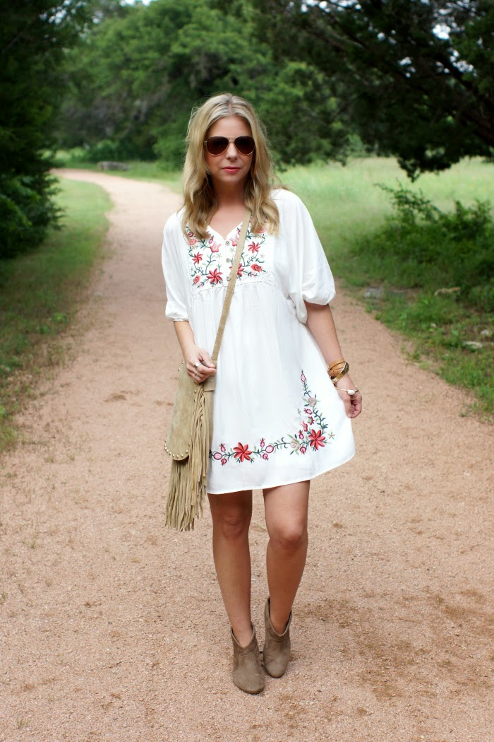 sheinside embroidered boho dress
