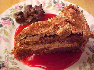 Gâteau au chocolat péché mignon et son coulis aux canneberges