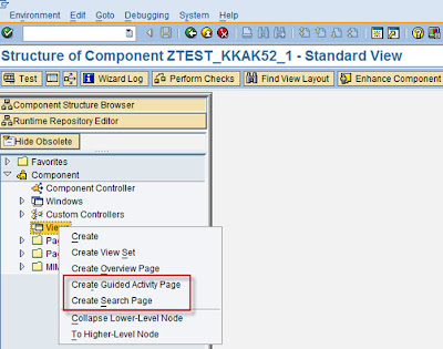 Screenshot showing the new wizard features for creating views in BSP Component Workbench