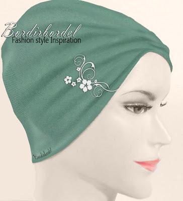 contoh motif bordir untuk ciput dan dapat juga digunakan untuk busana muslim lainnya, seperti kerudung,kebaya, selendang,gamis,tunik atau blouse