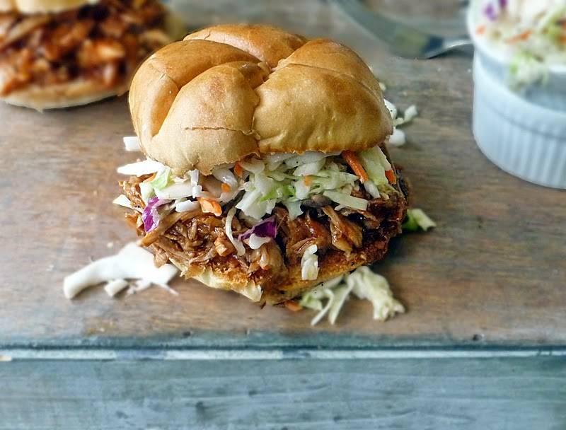 Barbecue Pulled Chicken Sandwich | by Life Tastes Good is mouthfuls of tangy sweet happiness! #4thOfJuly #Picnic #Summer